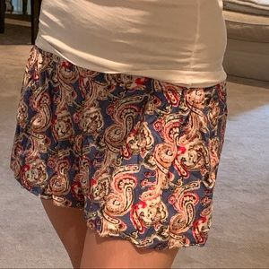 Blue Pink Paisley Flowy Shorts Small